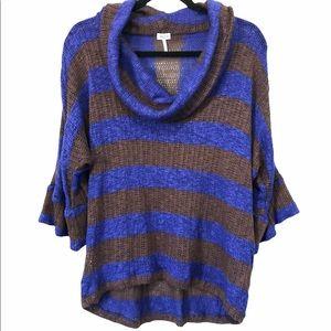 Splendid Light Knit Cowl Neck Striped Sweater, M